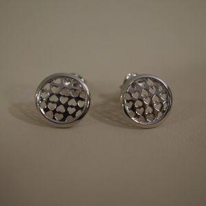 Sterling Silver Circle w/Heart cutouts Earrings